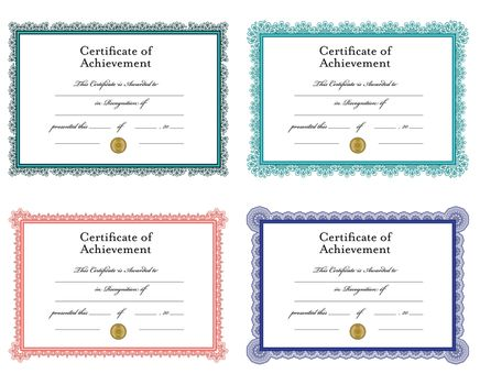Vector icon set for achievement certificate