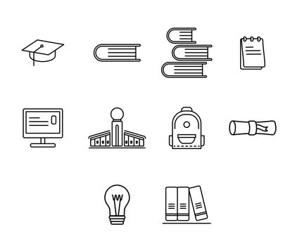 Vector icon set for education against white background