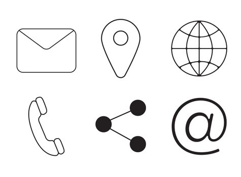 Various vector icons of communication on white background