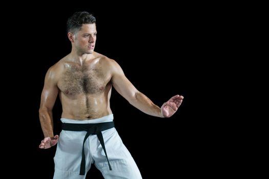 Karate fighter performing karate stance
