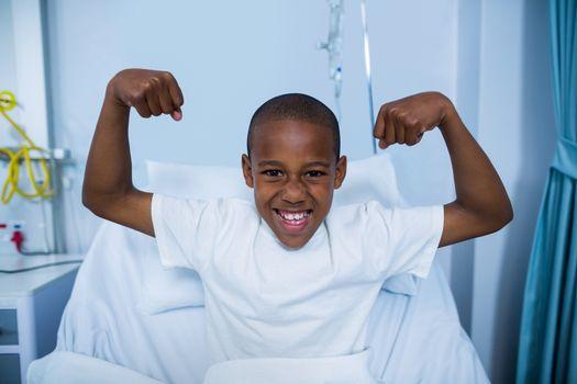Portrait of patient showing muscle