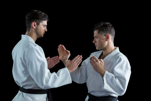 Two karate fighters practicing karate