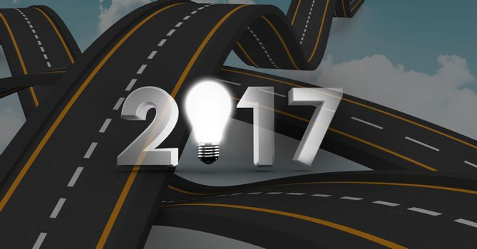 2017 text containing light bulb against a composite image 3D of overlapping roads