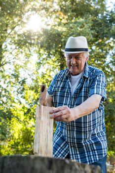 Senior man chopping firewood