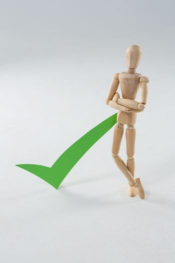 Wooden figurine with green check mark
