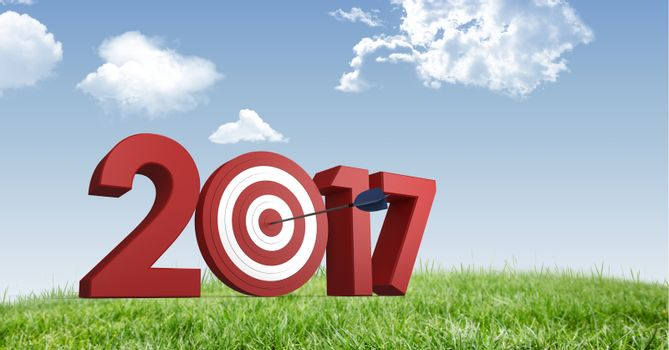 Darts target as 2017 against a composite image 3D of grasslands and sky