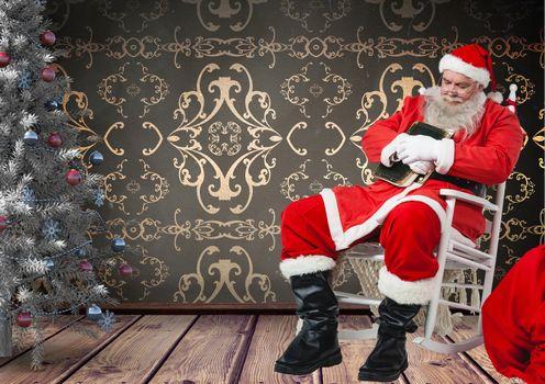 Santa taking a nap on rocking chair