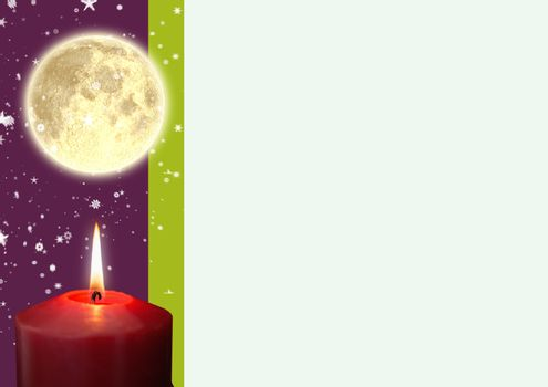 A lighted candle and full moon