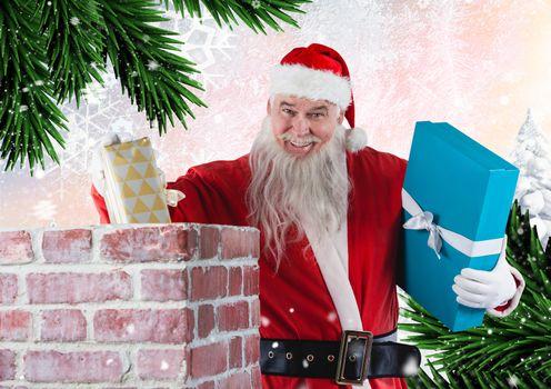 Santa placing gifts into the chimney