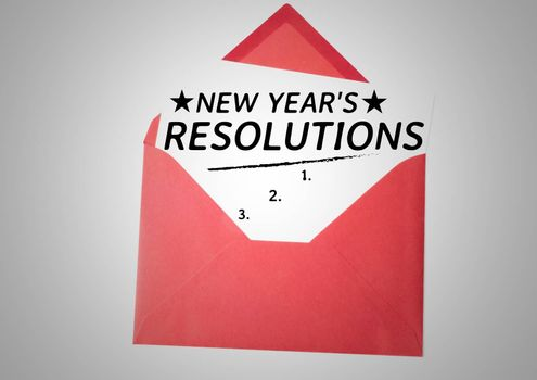 List of new year resolution goals in red envelope against white background