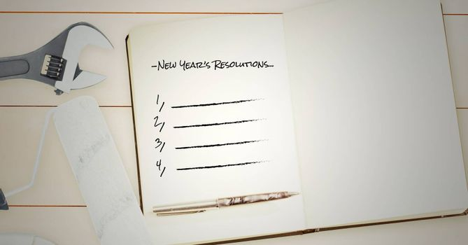 List of new year resolution goals with diy tools on wooden table