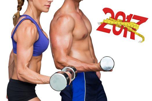 3D Composite image of bodybuilding couple