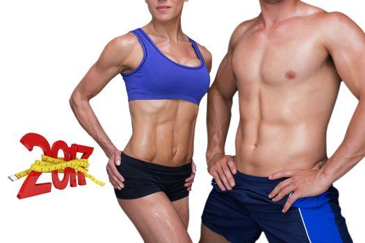 3DComposite image of bodybuilding couple