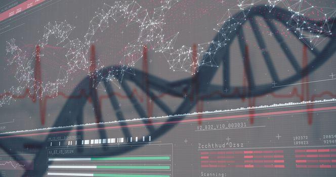 3D genes diagram on darkred background