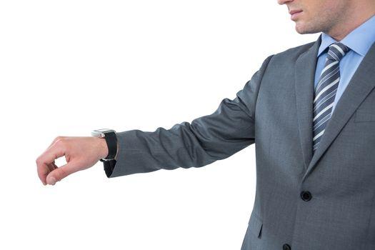 Businessman wearing smart watch
