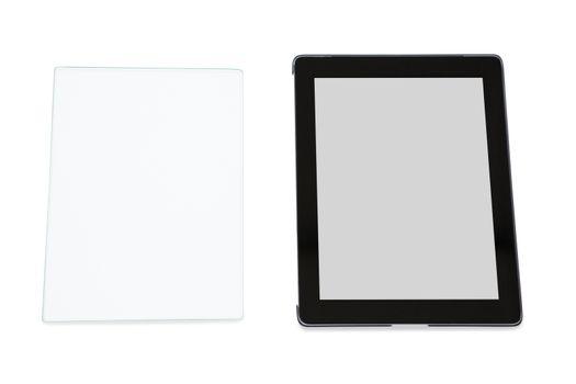 Close-up of futuristic digital tablet and digital tablet
