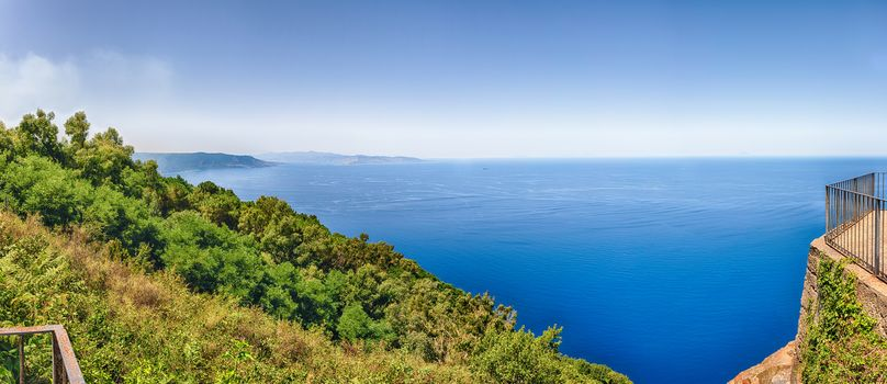 Panoramic aerial view of the Strait of Messina, between the eastern tip of Sicily and the western tip of Calabria in the south of Italy, as seen from the top of Mount Sant'Elia, Palmi, Italy