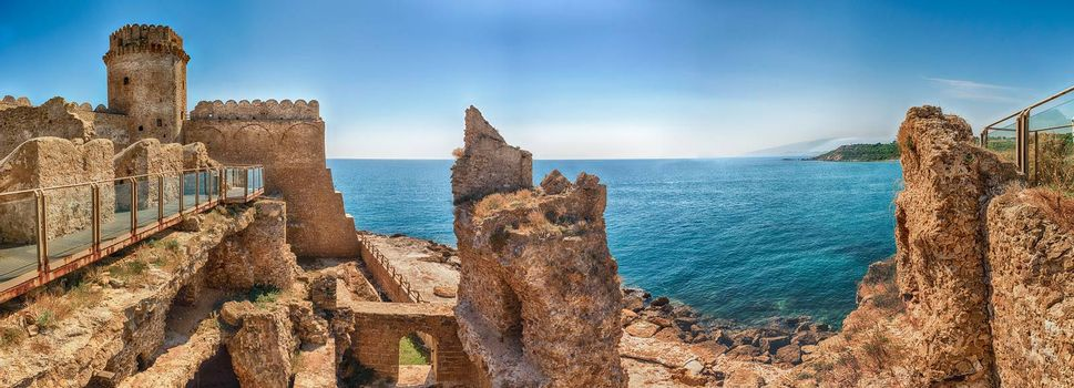 Panoramic view of the scenic Aragonese Castle, aka Le Castella, on the Ionian Sea in the town of Isola di Capo Rizzuto, Italy