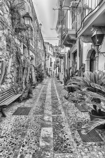 Picturesque streets and alleys in the seaside village of Chianalea, fraction of Scilla, Calabria, Italy