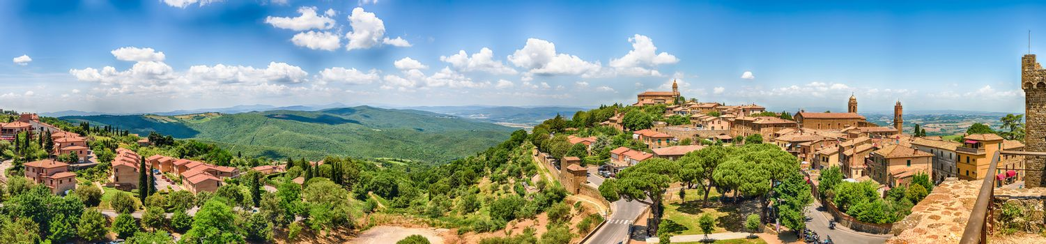 Aerial panoramic view of a beautiful landscape around the town of Montalcino, province of Siena, Tuscany, Italy