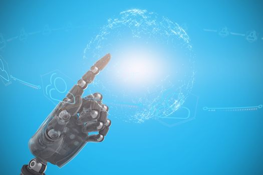 Composite image of close up of gray robotic arm