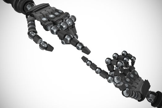 Composite image of robotic arm over white background