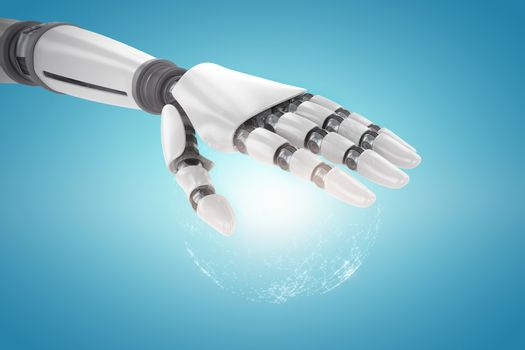 Composite image of robotic hand over white background