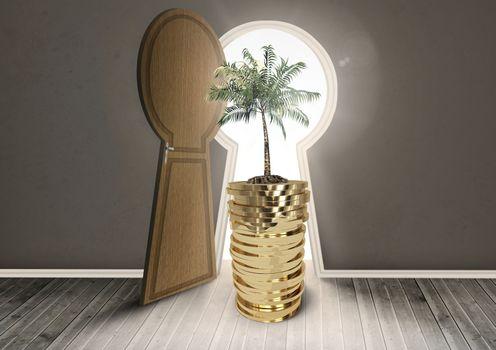 Money and tree in front of door