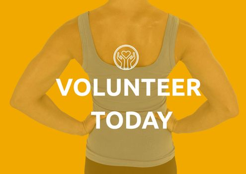 Back of woman determined for volunteering