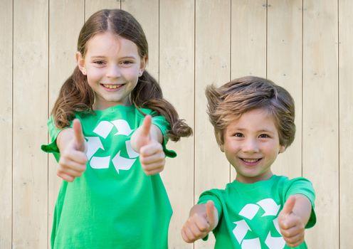 volunteers kids recycling