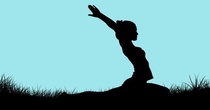 Shadow of woman doing yoga