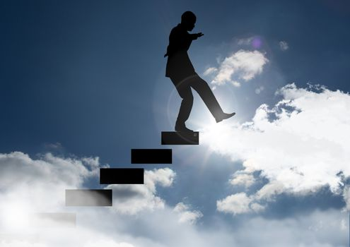 Digital Composite of Man climbing stairs against sunset and cloud