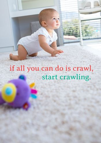 Text against picture of baby crawling