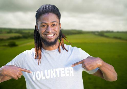 Digital composite of Volunteer man smiling