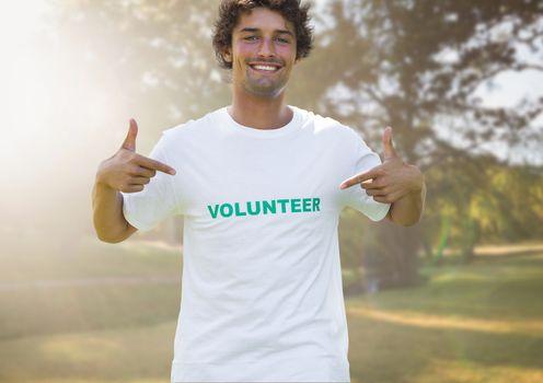 Digital Composite of Smiling volunteer against wooden background