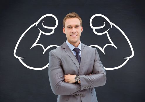 Businessman with draw of biceps