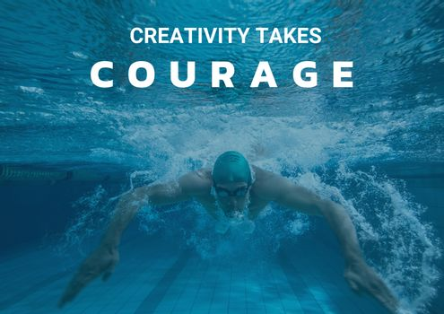 Courage text against picture of diving swimmer