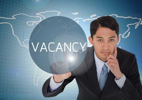 Businessman pressing vacancy button