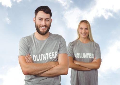 digital composite of volunteers crossing arms