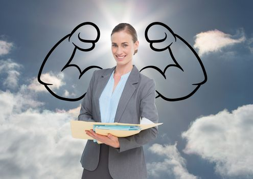 Businesswoman with draw of biceps