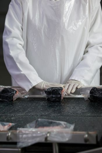 Butcher packing raw meat