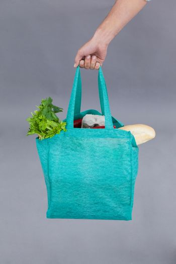 Hand of a man holding a grocery bag