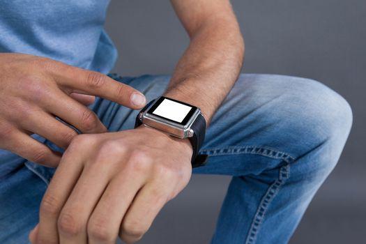 Man using a smartwatch