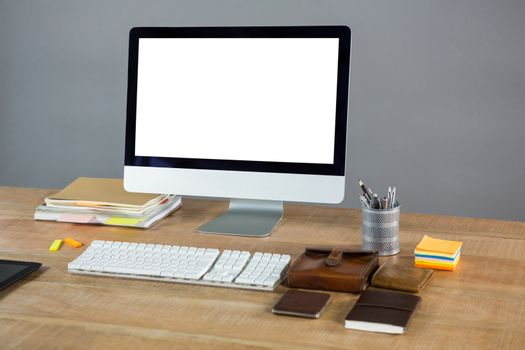 Desktop pc with office accessories