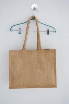 Grocery bag hanging on hanger