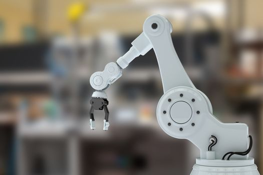 Composite image of robotic arm with claw 3d