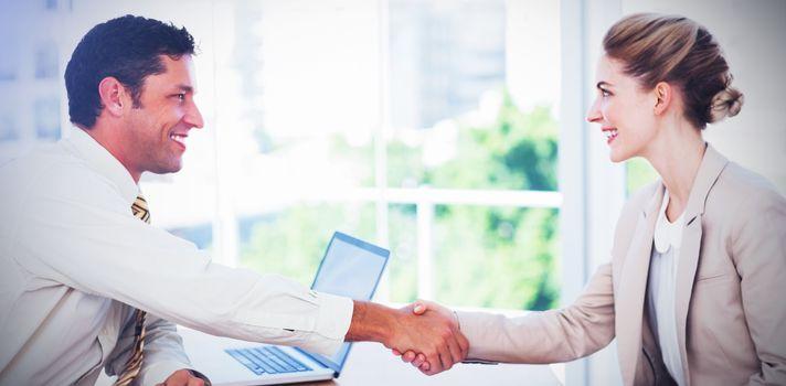 Blond businesswoman having an interview