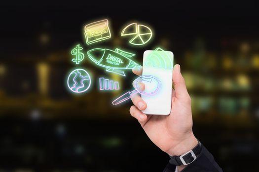 Composite image of digital marketing doodle 3d
