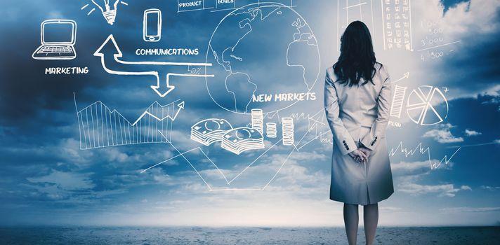 Businesswoman considering a brainstorm 3d