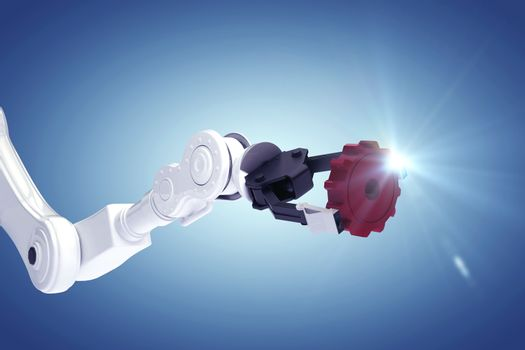 Composite image of robotic arm with gear 3d